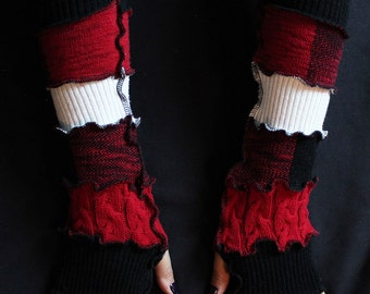 Red Queen of Hearts Fingerless Gloves, Upcycled/Recycled Sweaters, Arm Warmers, Katwise Style, Boho, Writer's Gloves, OOAK