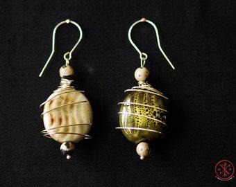 Jasper and Porcelain silver earrings