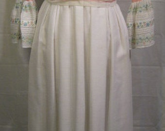 Vintage 1970s Couriers California Embroidered Long White Dress