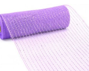 "Free shipping - Lavender Purple Deco Mesh - 10"" Lavender Mesh - Metallic Lavender Deco Mesh Ribbon - Poly Deco Mesh : Product # RE130113"