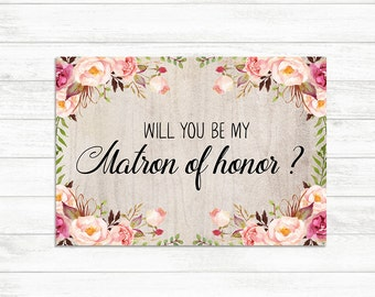 Bridesmaid proposal custom bridesmaid card will you be my will you be my matron of honor card floral rustic matron of honor card pronofoot35fo Image collections