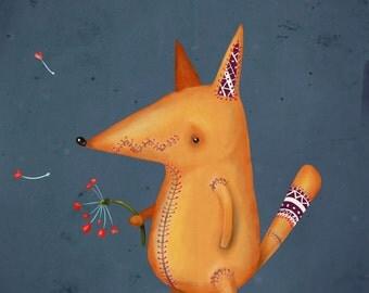 Instant digital download printable artwork. Fox in love.