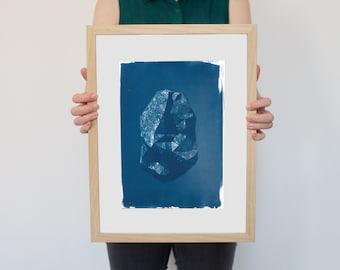 Digital Low-Poly Rock, Cyanotype Print on Watercolor Paper, A4 size
