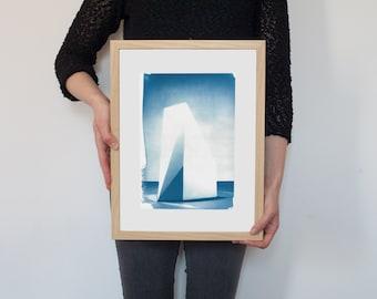 Cyanotype Print, Sol Lewitt Complex Form Sculpture on Watercolor Paper, A4 size