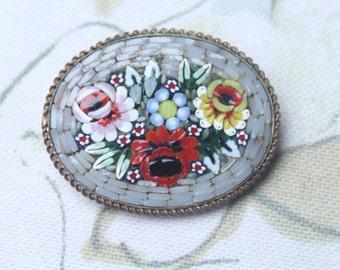 Micromosaic Brooch, Vintage Grey Brooch, 50s Floral Brooch, Vintage Jewelry