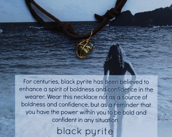 Black Pyrite Gold Wrapped Chocolate Deerskin Lace Necklace
