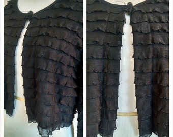 Black Cropped Ruffled Jacket * Pirate Jacket * Steampunk * Shrug * Victorian