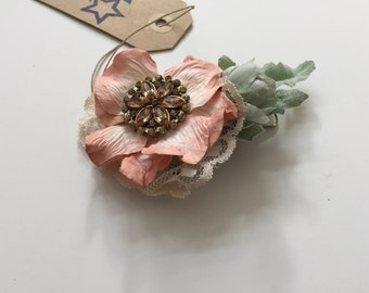 Blush, lace with greens and jewel. 0032
