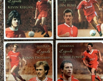 Great set of Liverpool FC Legends ceramic coasters Keegan, Dalglish, Rush, Fowler
