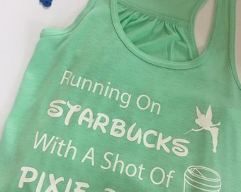 Running On Starbucks With A Shot Of Pixie Dust Women's Park Starbucks Tank Top Mint Flowy