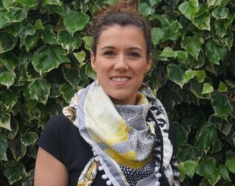Shawl made using vintage silk scarfs - Black and White