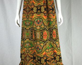 Vtg 70s maxi paisley ruffle bohemian boho hippie peasant dress skirt