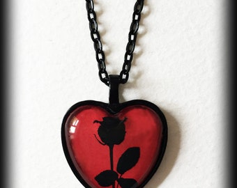 Black Rose Necklace, Red Heart Pendant, Glass Cameo Necklace, Gothic Victorian, Romantic Valentine Gift Idea, Gothic Jewelry, Handmade