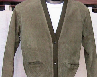 Small Rough Suede Moss Green Vintage Jacket