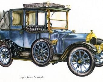 Antique Car Vintage Bookplate Print *1912 Rover Landaulet* Vintage Motorcars Colorful, Detailed Peter Griffin Illustration Home Decor