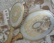 Victorian Printed Vintage Gold & Silver Royal Kitsch Vanity Set Handheld Brush and Mirror