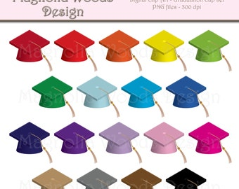 Graduation Clip Art, Graduation Cap Clip Art, Graduation Hat Clip Art, Graduation PNG, Digital Graduation Images, Small Commercial Clip Art