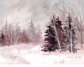 Watercolor Print - Winter Forest