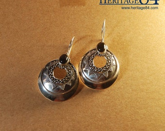 Sterling silver earrings dangle, earrings black onyx , silver earrings, vintage silver earring, oriental earring, round dangle earrings
