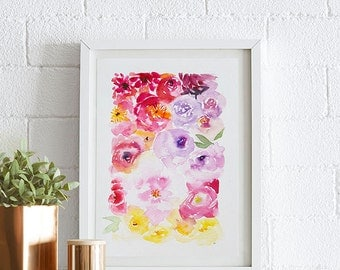 Peony, Watercolor painting, Flowers, Floral Print, Printable art, Home decor, Original art, Floral wall art, Instant Download
