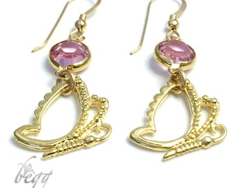 Butterly and pink zirconia earrings