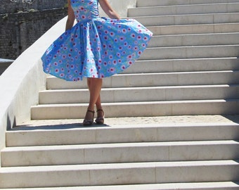 Pinup dress 'Blue Joy', PLUS SIZE AVAILABLE, floral rockabilly dress, roses, pink,