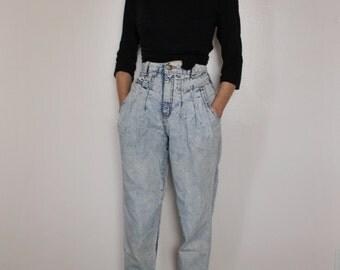 Vintage 1980s Acid Wash High Waist Jeans | High Waist Jeans | Acid Wash Denim Jeans | XS