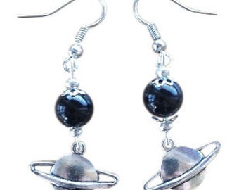 Earrings - Saturn with Hematite/Onyx
