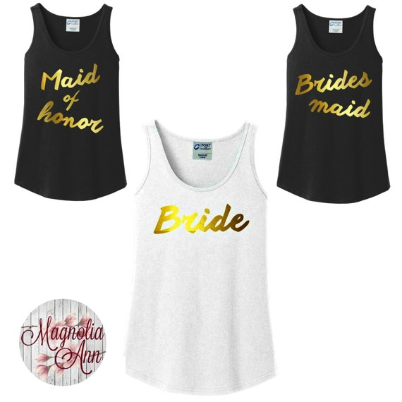 Bridal Party Gold Foil Tanks, Bride, Bridesmaid, Maid of Honor, Wedding Women's Tank Top in 6 colors in sizes Small-4X, Plus Size