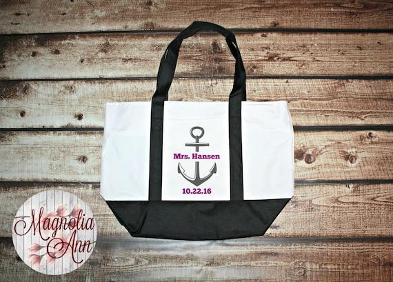Custom Mrs Bride Anchor Wedding Date Large Boat Tote Bag in 3 Colors