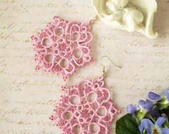 Valentine's gift Chandelier earrings Pink earrings Lightweight earrings Tatting jewelry Boho chic Bohemian earrings Tatted lace earrings