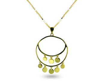 """18k gold plated sterling silver """"Italian Art"""" inspired statement gypsy style pendant necklace in gift box"""