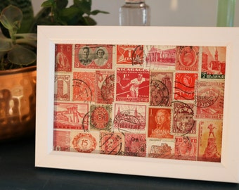 Vintage and Unique Red Stamp Collage