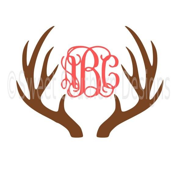 Deer Antler Monogram Svg Instant Download Design For