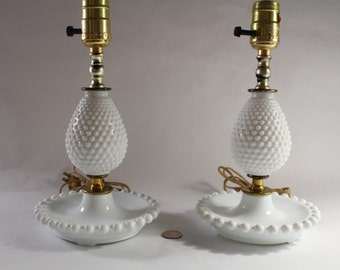 """ON SALE!  Pair 15"""" Vintage Milk Glass Hobnail """"Inverted Pear"""" Boudoir Night Table Electric Lamps c1950 c 1960, White Matching Lamps, Nice!"""