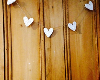 Handmade Heart Bunting made with White Clay