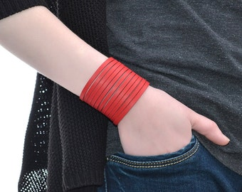 Wide Leather Bracelet Red / Leather Band Bracelet, Leather Cuff Bracelet / Mens Bracelet, Leather Wristband, Leather Wrap Bracelet