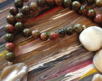 Unakite and mother of pearl beaded necklace