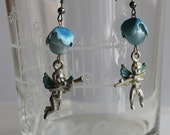 fairy earrings, cherub charms, blue, music, cupid, drop, Kirk's Folly, moonglow, vintage assemblage hand-made in France / A022