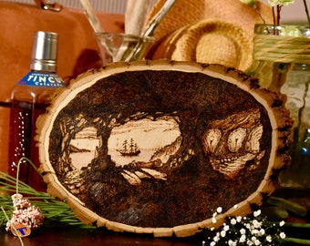 Pirate Art - Wood burning Pyrography Inspired by Disney's Marc Davis - Free Shipping