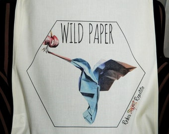 Tote bag, organic cotton bag, Origami Hummingbird Wild Paper