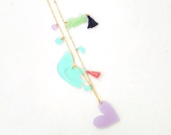 Multiple charms long necklace