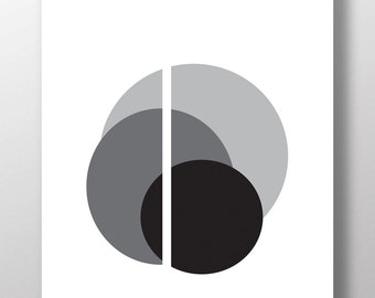 Black and white circle art, graphic poster, PRINTABLE wall art abstract, graphic print, circle print, modern art, minimalist modern, nordic