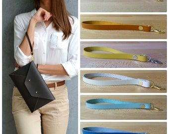 Leather wrist strap / Removable wristlet / Wrist strap for clutch