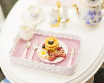 Pancake Breakfast Tray with Berries, Fried Egg and Bacon - 1:12 Dollhouse Miniature