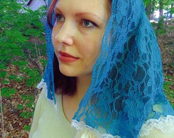 Mantilla for Mass / Medium /Soft Blue Lace Veil / Chapel Scarf / Latin Mass / Church Veil / Catholic Headdress / Catholic Accessories