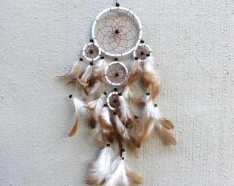 Dreamcatcher // Beaded Dreamcatcher // Feather Dreamcatcher // White Dreamcatcher // Boho Decor // Wall Decor