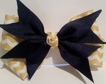 Yellow and Navy Blue Hair Bow