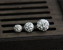 2pcs-8mm/10mm/12mm Sterling Silver Beads, Bright Silver Hollow Beads, Sterling Silver spacer bead, Silver flower spacer bead