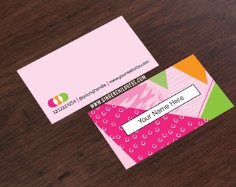 Pink Business Card - Color Block Business Card - Social Media Business Card - FREE Ground Shipping